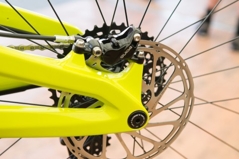 The full carbon swingarm uses 12x142mm spacing.